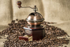 Coffee grinder and coffee beans Stock Image