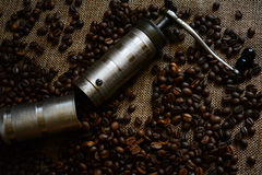 Coffee grinder and coffee beans Stock Photos