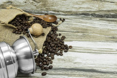 Coffee grinder and coffee beans. Still life coffee beans and coffee grinder Stock Images
