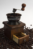 The coffee grinder with coffee Royalty Free Stock Photography