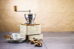 Coffee grinder, coffee and sweet Italian cookie cantuccini Royalty Free Stock Image