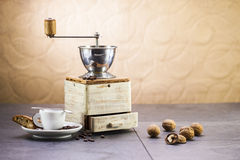 Coffee grinder, coffee and sweet Italian cookie cantuccini Stock Photo