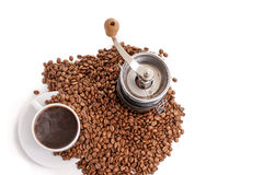 Coffee grinder with coffeecup and beans Royalty Free Stock Photo