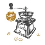 Coffee grinder concept. Coffee grinder. Coffee shop concept. Vector hand drawn illustration. Sketch style Stock Photos