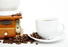 Coffee Grinder and cup Stock Photography