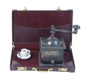 Coffee Grinder and Cup in a Briefcase Royalty Free Stock Photography