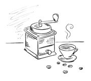 Coffee grinder and a cup of coffee. Vector illustration, graphic design - and a cup of coffee grinder stock illustration