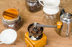 Coffee grinder and drip coffee kits set Stock Images