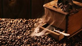 Coffee Grinder with freshly milled grains stock video footage