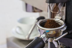 Coffee grinder grinding freshly roasted coffee beans Royalty Free Stock Images