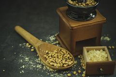 Coffee grinder grinding soybeans into powder. Coffee grinder grinding soybeans into powder and wooden ladle in darkness. Used to make soy milk stock photo