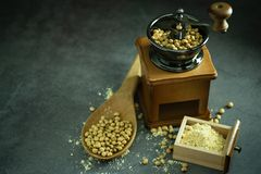 Coffee grinder grinding soybeans into powder. Coffee grinder grinding soybeans into powder and wooden ladle in darkness. Used to make soy milk royalty free stock photography