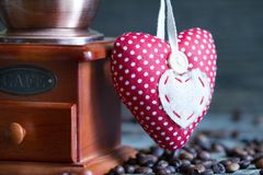 Coffee grinder and heart retro vintage abstract still life Stock Image