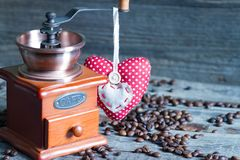 Coffee grinder and heart retro vintage abstract still life Royalty Free Stock Images