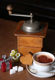 Coffee grinder and love breakfast royalty free stock photo