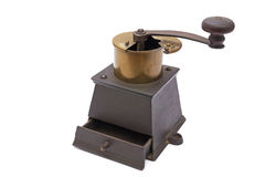 Coffee grinder. Metal coffee grinder on a white background royalty free stock photography