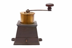 Coffee grinder. Metal coffee grinder on a white background royalty free stock photo