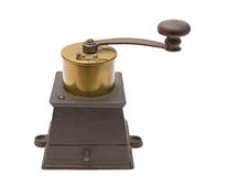 Coffee grinder. Metal coffee grinder on a white background stock photos