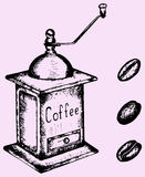 Coffee grinder mill and beans. Doodle style, sketch illustration Royalty Free Stock Photo