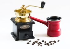 Coffee grinder old style. Coffee grinder, coffee beens everithing for coffee Royalty Free Stock Photography