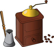 Coffee grinder. And standing beside teapot give you great coffee Royalty Free Stock Photography