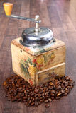 Coffee grinder. On the table Stock Photo