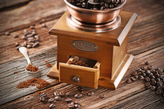 Coffee grinder on the table Stock Images
