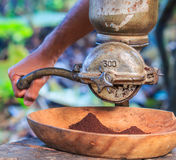 Coffee grinder. Traditional coffee grinder of Thailand stock photography