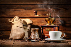 Coffee grinder, turk and cup of coffee Stock Images