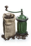 Coffee Grinder Vintage. Vintage Antique Coffee Grinder and coffee beans Stock Photos