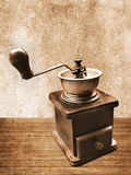 Coffee Grinder. Vintage coffee grinder with sepia tone Royalty Free Stock Photography