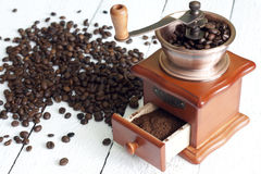 Coffee and grinder vintage still life Stock Image