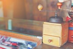 Coffee grinder. Vintage wooden coffee grinder for decoration cafe Royalty Free Stock Image