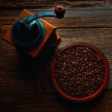 Coffee grinder vintage on wooden old tabl Stock Photo