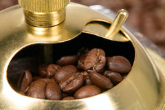 Coffee grinder in wooden case Royalty Free Stock Image
