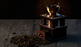 Coffee grinder on wooden table Stock Image