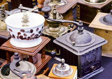 Coffee grinders on sale of flea market. Coffee grinders for roasted coffee beans on sale of flea market Stock Photos