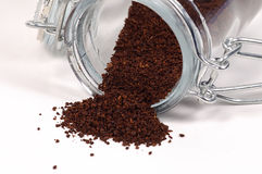 Coffee Grinds. Photo of Coffee and Jar Royalty Free Stock Photos