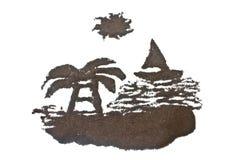 Coffee grounds art, sea Stock Image