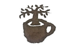 Coffee grounds art, tree in cup Royalty Free Stock Photos