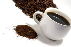 Coffee Grounds and Beans Stock Photography