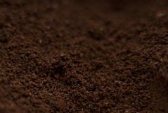 Coffee grounds. Close up view Stock Photos