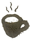 Coffee grounds, coffee cup shape Royalty Free Stock Photos
