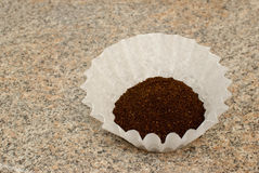 Coffee Grounds in a Filter. On granite countertop Royalty Free Stock Photography