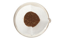 Coffee Grounds. Gourmet coffee grounds in a pour over setup Royalty Free Stock Photography