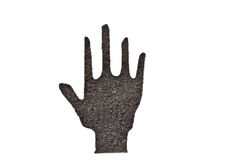 Coffee grounds, hand shape Stock Image