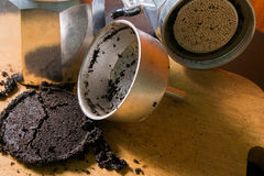 Coffee grounds. Powder closeup  after used Stock Images