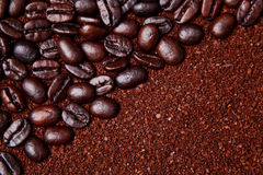Coffee grounds and whole beans background Stock Images