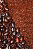 Coffee grounds and whole beans background Royalty Free Stock Photography
