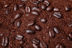 Coffee grounds and whole beans background Royalty Free Stock Images